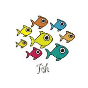 illustration of fish drawings, aquatic animals, vector illustration - stock illustration