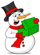 snowman is excited about a christmas gift - stock illustration
