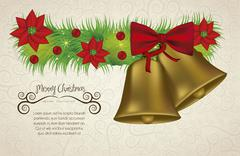 Illustration of christmas bells golden with mistletoe, vector illustration Stock Illustration