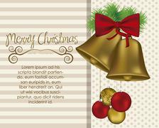 illustrations of bronze bells with mistletoe and ribbon, vector illustration - stock illustration