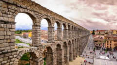 Segovia, Spain at the Roman Aqueduct Stock Footage