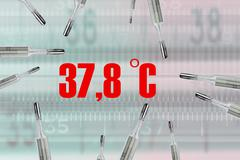 Many mercury's thermometers and body's temperature - stock illustration