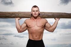 fitness on the beach - stock photo