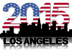 los angeles skyline 2015 flag text illustration - stock illustration