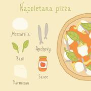 Napoletana pizza ingredients. Stock Illustration