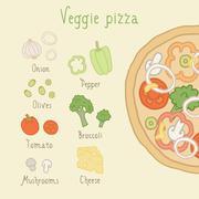 Veggie pizza ingredients. - stock illustration
