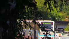 Gray-blue train Moscow subway rides on the overpass. - stock footage