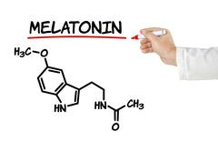 chemical formula of melatonin on a white background - stock illustration
