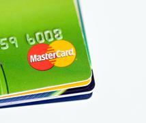 Stack of credit cards by MasterCard Stock Photos