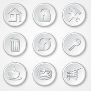 Vector abstract round paper icon set Stock Illustration