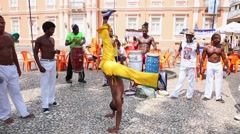 A group of people playing Capoeira. Stock Footage