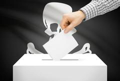 Voting concept - ballot box with national flag on background - jolly roger fl Stock Photos