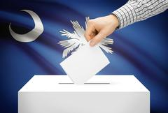 voting concept - ballot box with national flag on background - south carolina - stock photo