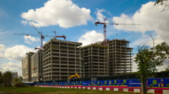 "Moscow, Russia. Construction site ""VTB. Arena Park"" near the stadium ""Dynamo"". Stock Footage"