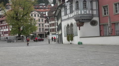 Switzerland Saint Gallen people old town square 4K 125 Stock Footage