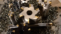milling bits detail close up - stock footage