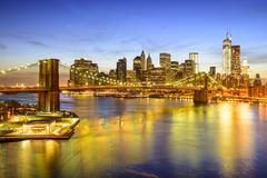 New York City Skyline over the East River - stock photo