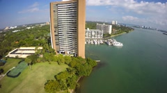 Miami waterfront buildings on the bay Stock Footage