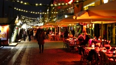 Christmas market at nyhavn in copenhagen, denmark Stock Footage