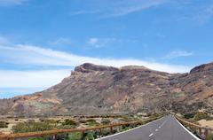 road through the el teide nation park - stock photo
