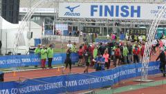 People finishing marathon Stock Footage