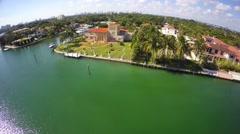 Luxury Miami Beach corner estate aerial video 2 Stock Footage