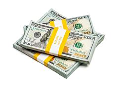Bundles of 100 US dollars 2013 edition banknotes - stock photo