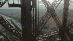 Eiffel Tower Elevator Ride Stock Footage
