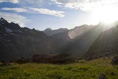 sun shine in the mountain - stock photo