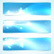 banners shine in the space. with place for text - stock illustration