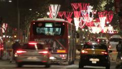 Barcelona Christmas Street Lights Decorations and Traffic Stock Footage
