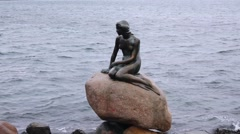 the mermaid, sculpture in copenhagen, denmark - stock footage