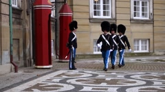 Royal life guard, amalienborg palace, copenhagen Stock Footage