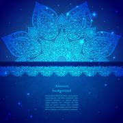 blue vintage indian ornament - stock illustration