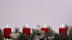 christmas decoration with candle for advent season, burning all four candle - stock footage