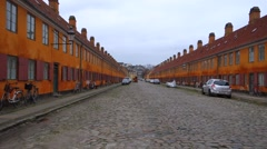 Yellow row houses at nyboder, copenhagen, denmark Stock Footage