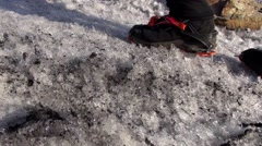 Stock Video Footage of Boots with crampons. Man climbs the ice