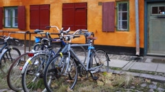 Yellow row houses at nyboder, copenhagen, denmark Stock Footage