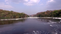 Views of the calm waters of the White Nile River in motion Stock Footage