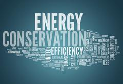 word cloud energy conservation - stock illustration