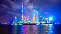 shanghai, china city skyline at night - stock footage