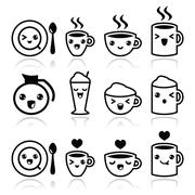 Cute coffee, cappuccino and espresso Kawaii black icon set - stock illustration