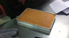 Cooking class teaching parepare cake after finish from oven Stock Footage