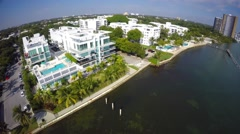 Stock Video Footage of Miami waterfront real estate 2 aerial 1080