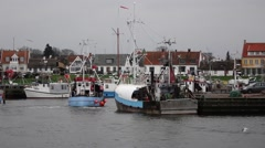 Danish fishing cutters in gilleleje harbour, denmark Stock Footage