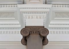 intricate plaster cornice ceiling - stock photo