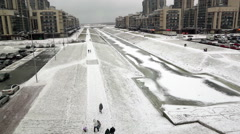 Panorama of the Matisov Canal from the top floor of the shopping complex Stock Footage