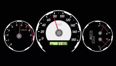 speedometer sports car, start acceleration and braking. black screen backgrou - stock footage
