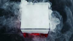 Dry Ice Vessel Seen From The Top Smoking Stock Footage