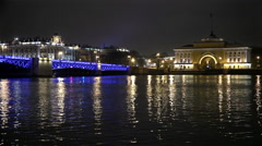 RUSSIA, the Palace Bridge on the River Neva with a view of the Admiralty Stock Footage